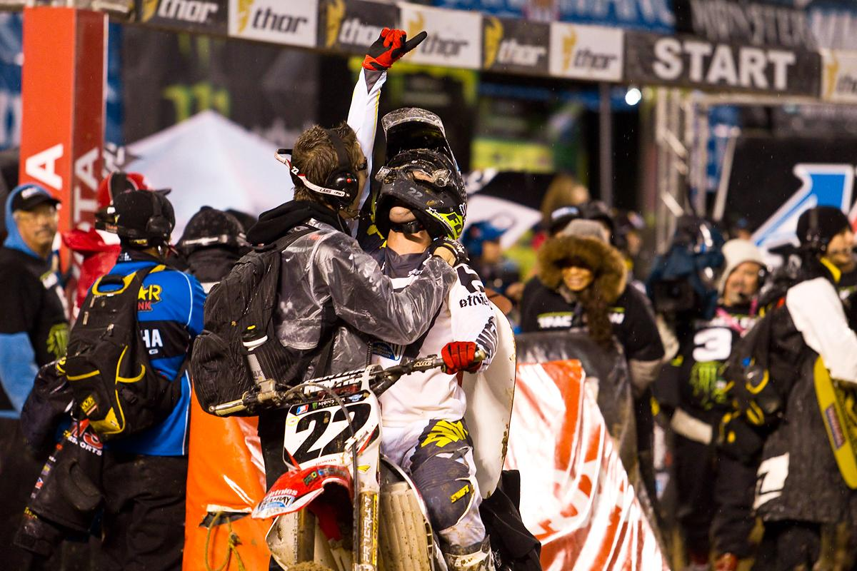 Many counted out Chad Reed's privateer TwoTwo Motorsports effort, but on a muddy night in San Diego, he grabbed a victory at round 7 in San Diego. (The Medium Group photo)