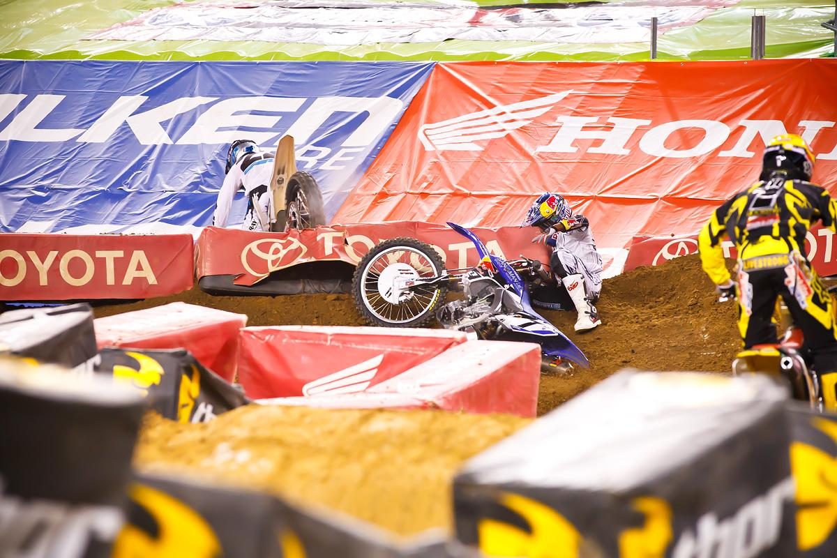 Things got testy between Stewart and Reed again in Dallas, as Stewart crashed into his rival in the whoops. That led to disappointing finishes for both. (Cudby photo)