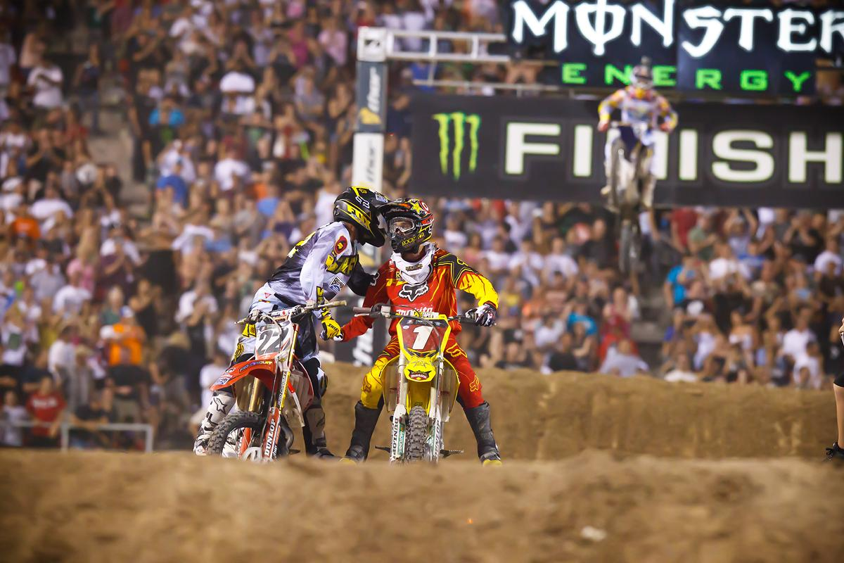 Reed and Dungey embrace each other after a battle in Vegas. (Cudby photo)