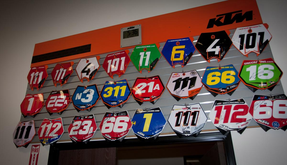 Dungey brought a rare AMA Motocross Championship to KTM, but you can see they've been dominating off-road as of late (these are all plates from champions).