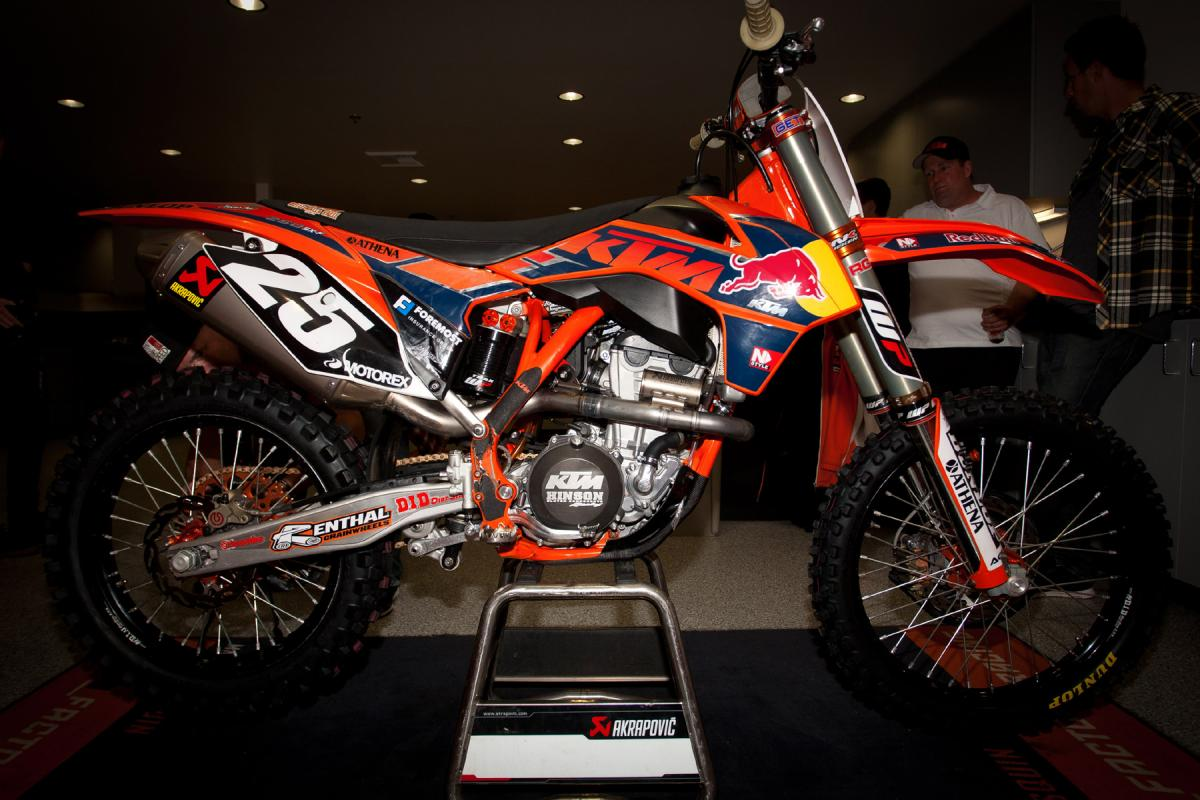 Don't forget the 250SX-F guys. They have an all-new engine for 2013 that's said to be making big power.  This is Marvin Musquin's bike.