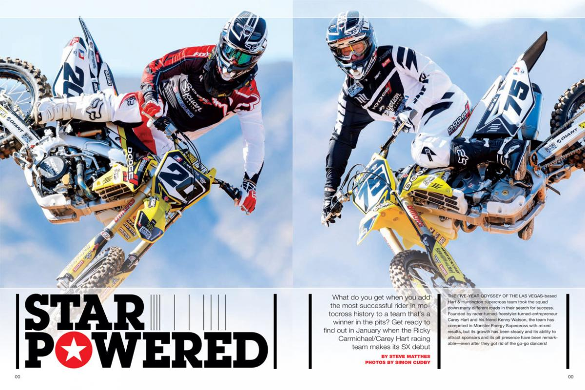 His Hart & Huntington team was already a hit with fans, but now Carey Hart has joined forces with Ricky Carmichael in a bid to reach the sport's upper echelon. Meet Team RCH Racing. Page 114.