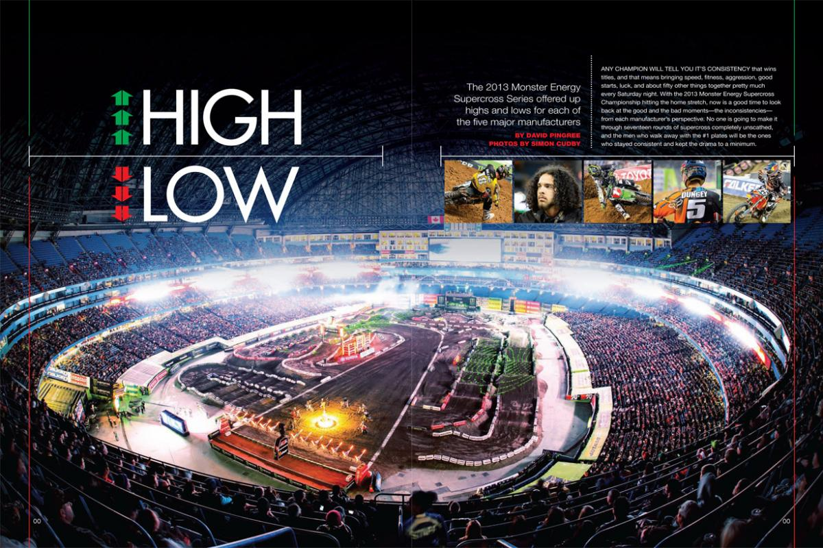 Each of the five major manufacturers had its ups and downs during the 2013 Monster Energy Supercross campaign. Page 118.