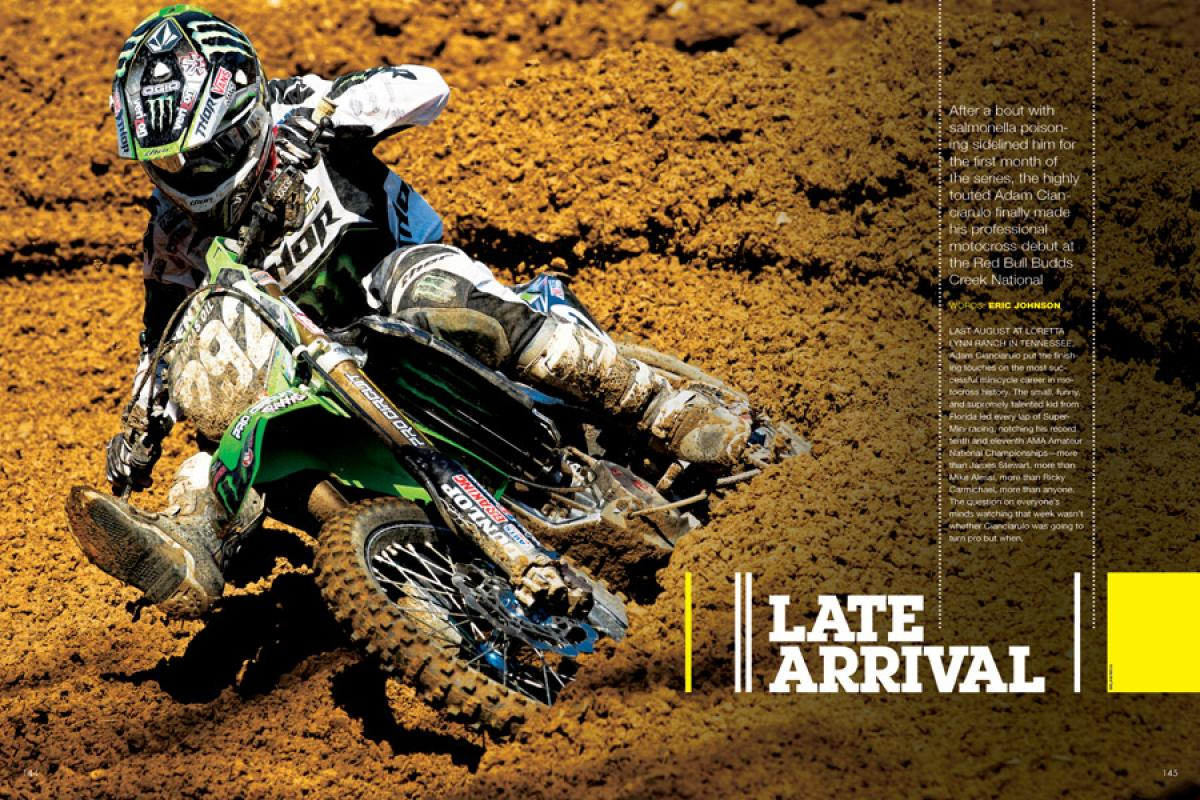 After a bout with salmonella poisoning sidelined him for the first month of the series, the highly touted Adam Cianciarulo finally made his debut at Budds Creek. Page 144.