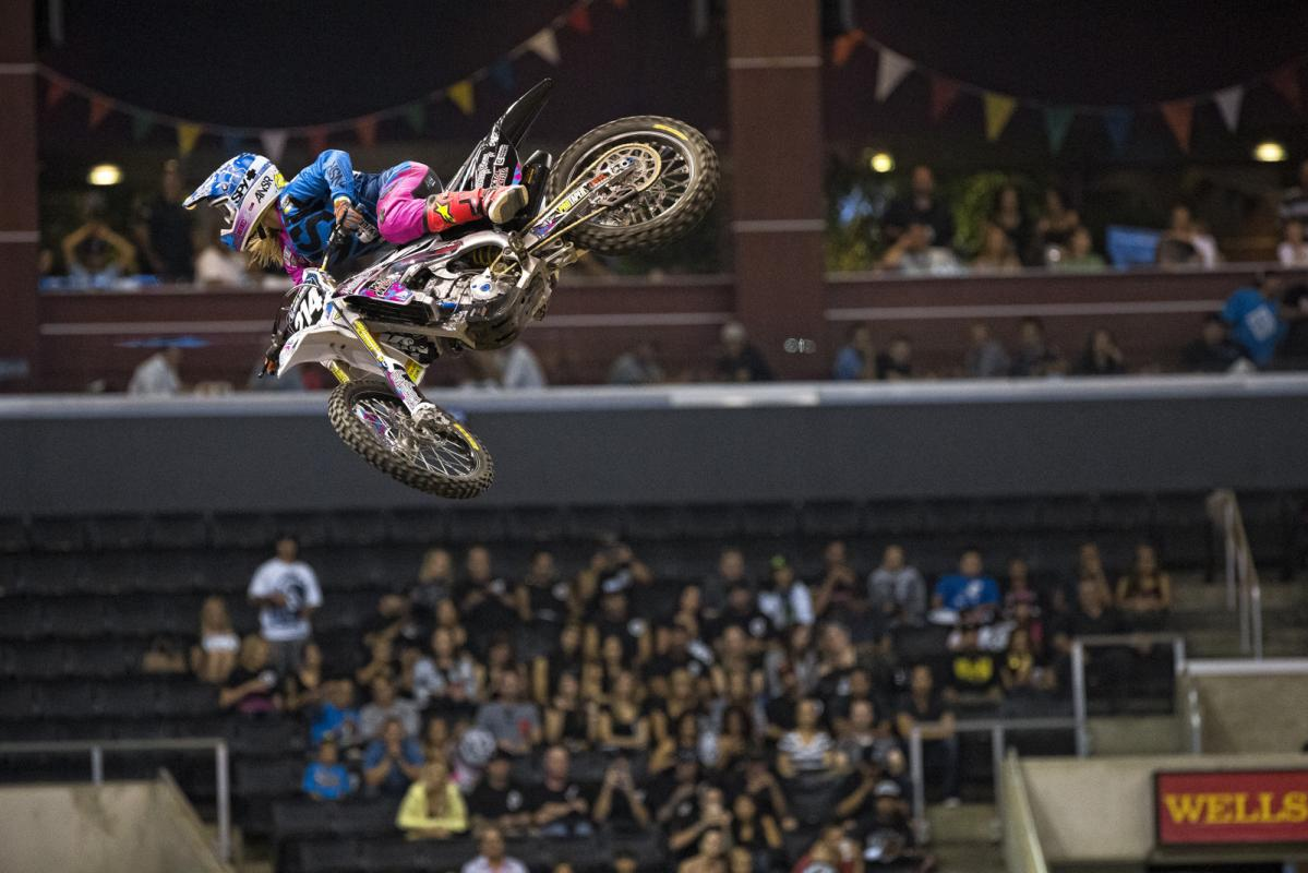 Vicki Golden was the first-ever invited female moto athlete for Best Whip, and Golden definitely didn't disappoint. Golden used her girl power to take home third place in the text voting. And yes, those are Metal Mulisha graphics and stickers that Vicki is running…