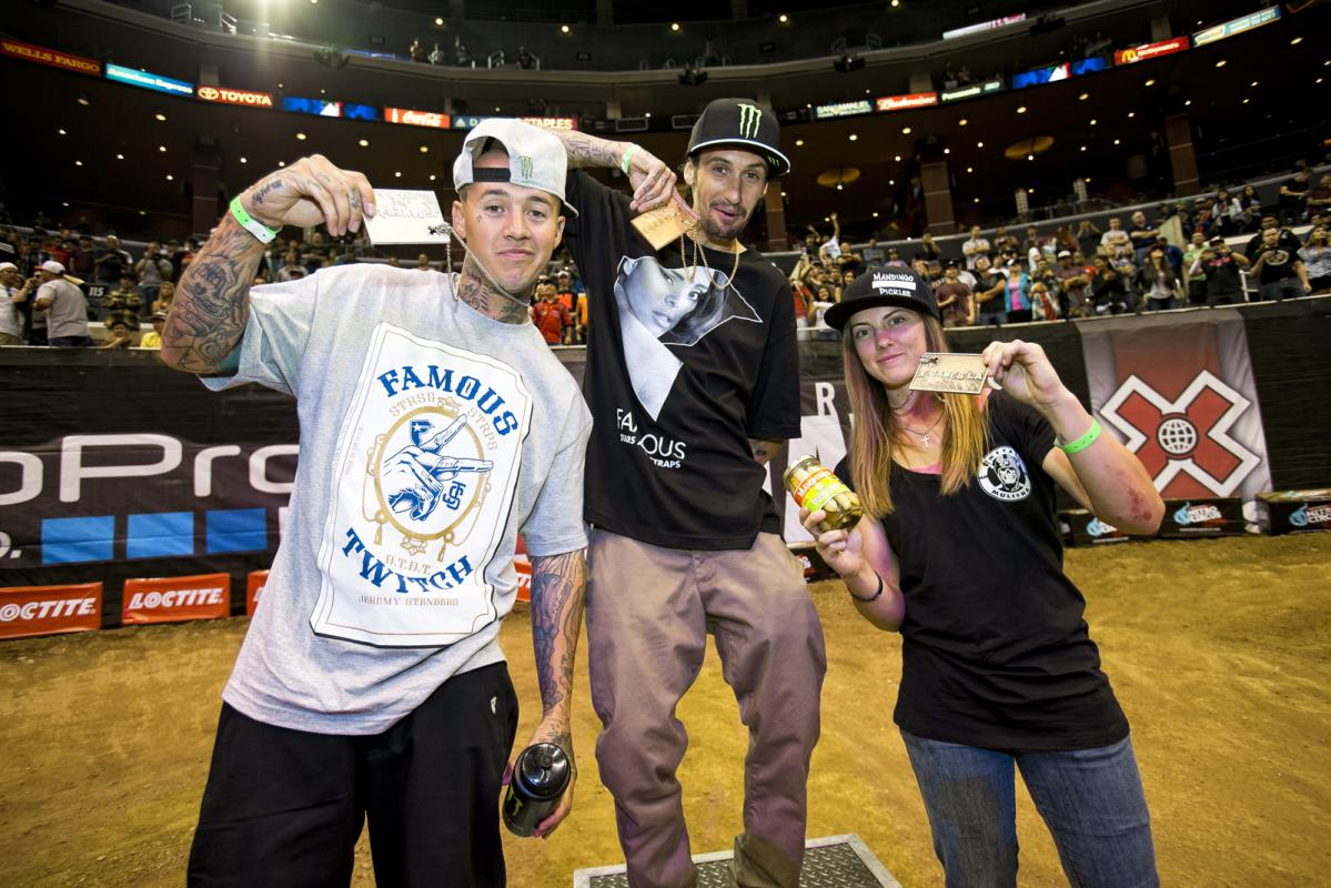The Best Whip medalists hang their precious new hardware (from left: Jeremy Stenberg, Josh Hansen, and Vicki Golden)