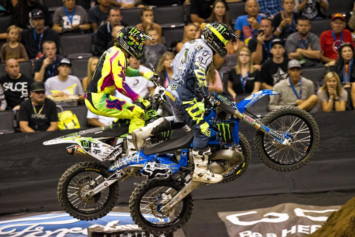 Edgar Torronteras (near) and Andre Villa started out with a great battle in their first race, but just after this section Torronteras lost his footpeg, rode side-saddle for a few feet, and ditched his bike, handing Villa the easy  win.