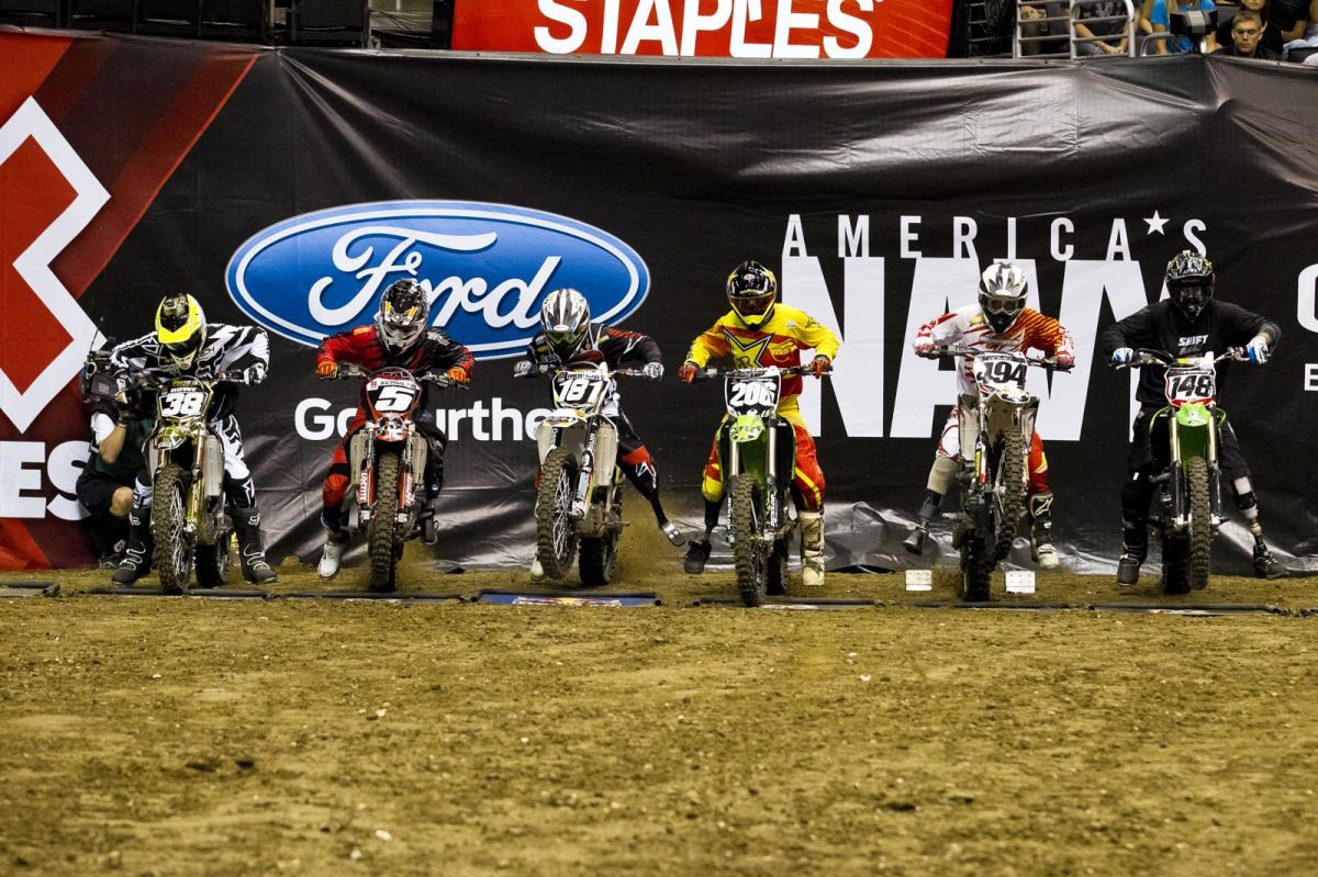 The night kicked off with the six fastest Adaptive racers in the world going at it for their shot at X Games gold. The pack rockets out of the gate here during the finals.