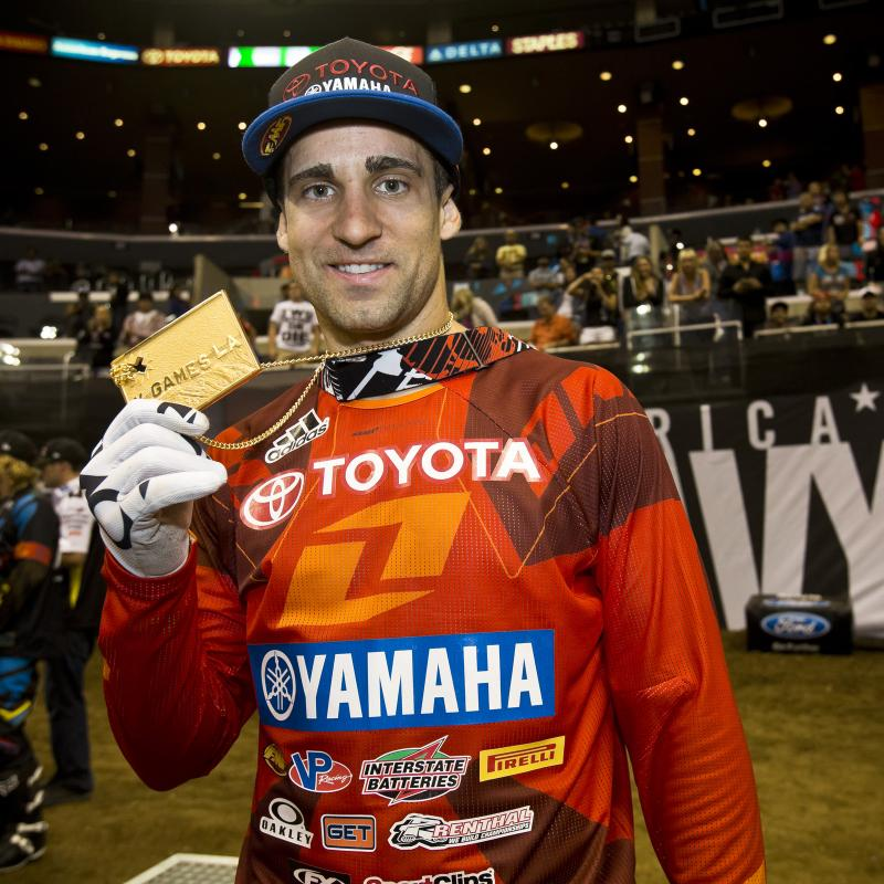 JB shows off his chunk of X Games gold after a well-deserved win.