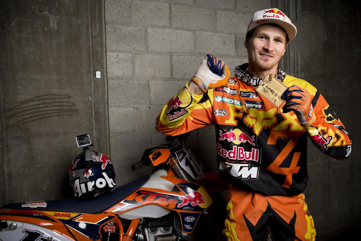 Taddy was ecstatic about taking home gold in the last-ever Los Angeles X Games. Just like he is doing in this portrait, Blazusiak definitely kept his KTM pinned!