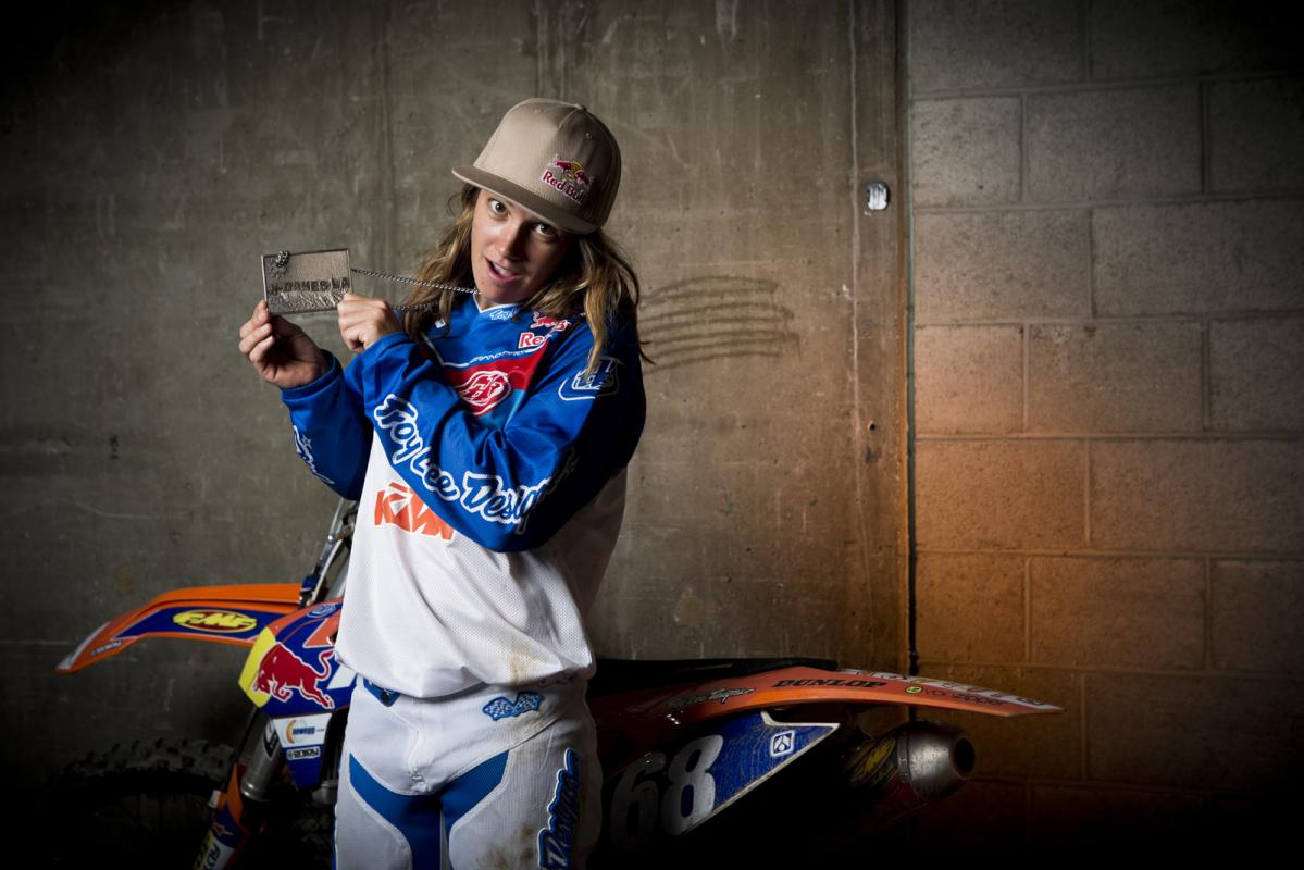 Tarah Gieger shows off her new bronze medal following the awards ceremony. Though she was disappointed with handing over the win to Sanz after a crash, Gigsey was still a happy camper to have scored yet another X Games medal to add to her collection.