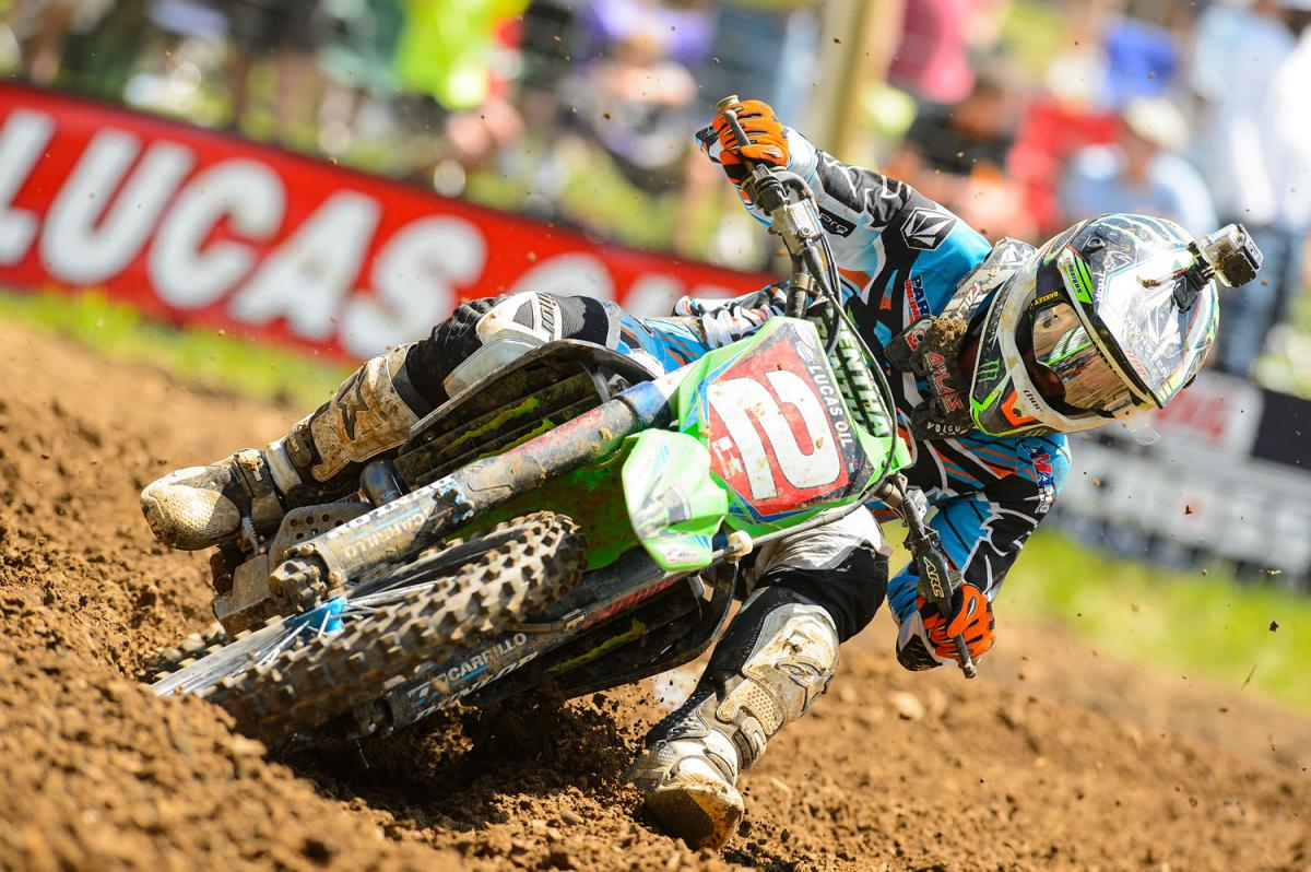 The champ coming at you. This has become the most intimidating sight in motocross.
