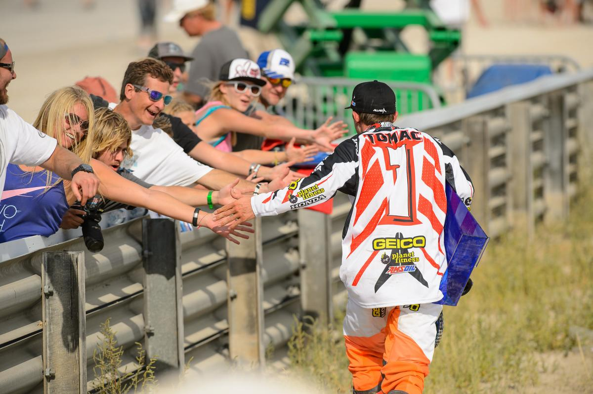Tomac's first public appearance as the new 250MX Champ. He earned it!