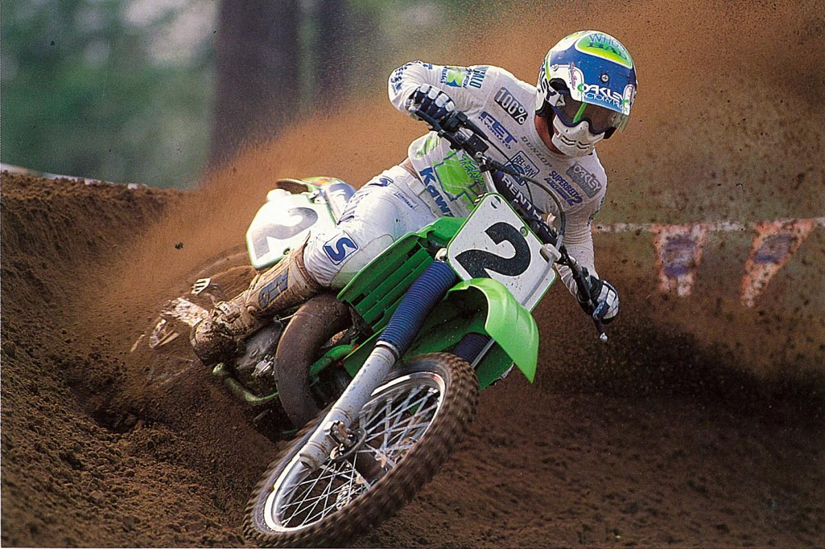Jeff Ward blasts a sandy berm on a classic KX250.