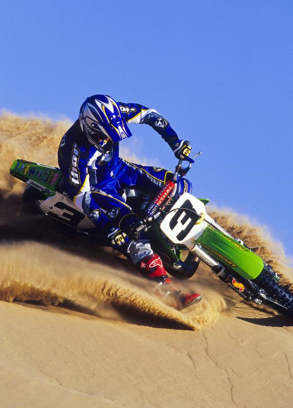 Brown can seemingly do it all, but the two-stroke was his best weapon. Imagine what this sucker sounded like out in the sand dunes!