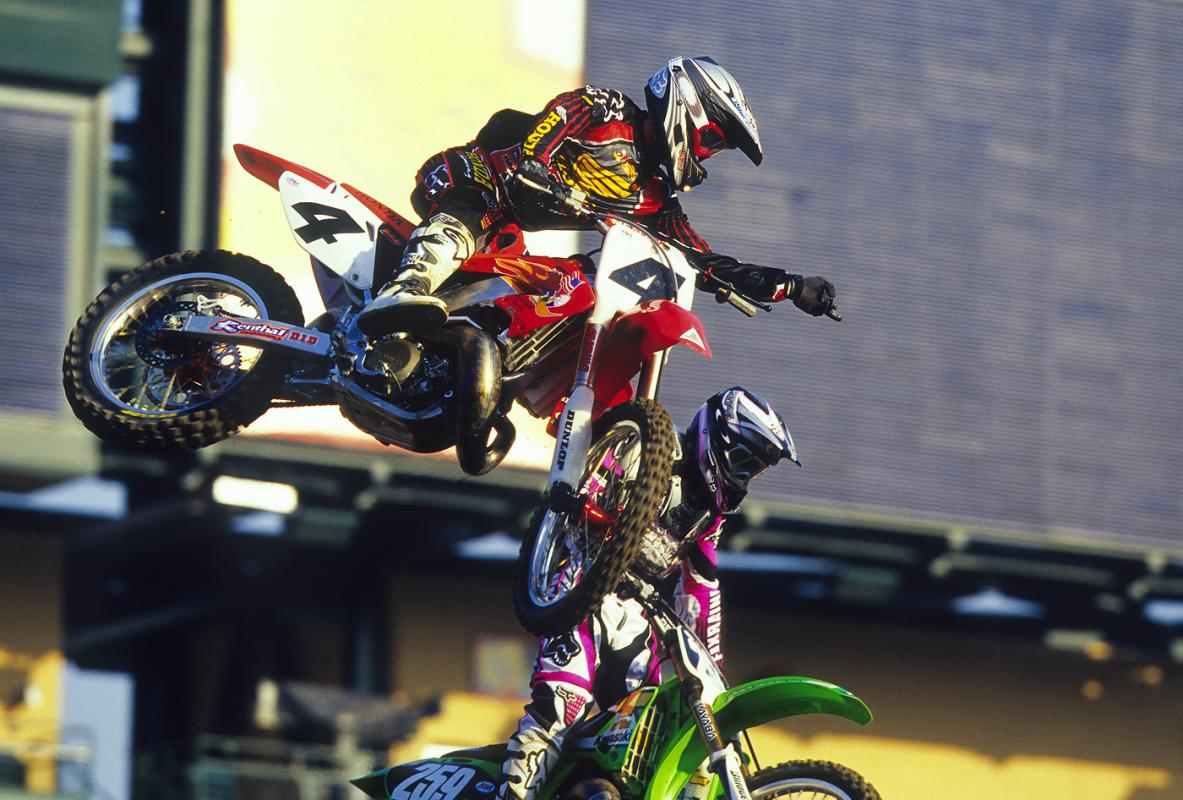 A rare PR shot with Ricky Carmichael and James Stewart together in 2002.