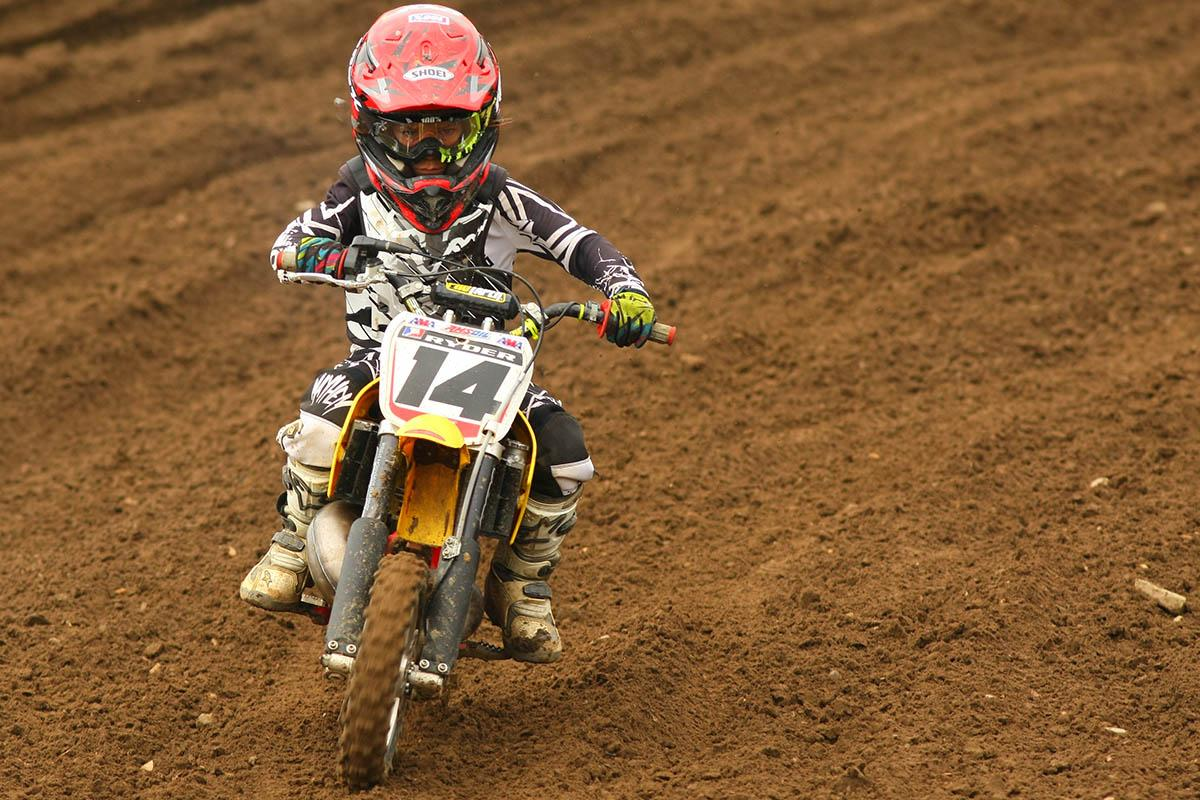The Cooper family of Cold Spring Harbor, NY, might be the next big motocross family. Brothers Ryder, Reed and Justin won four classes at the KROC. Ryder (pictured) won the 50cc 4-6 Stock class on Saturday.