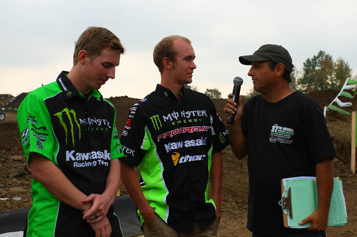 Monster Energy Kawasaki's Jake Weimer and Monster Energy/Pro Circuit Kawasaki's Blake Baggett were both on hand Saturday and Sunday signing autographs and meeting their fans in the Northeast. Here they are interviewed by long time track announcer Rich Trevelise.
