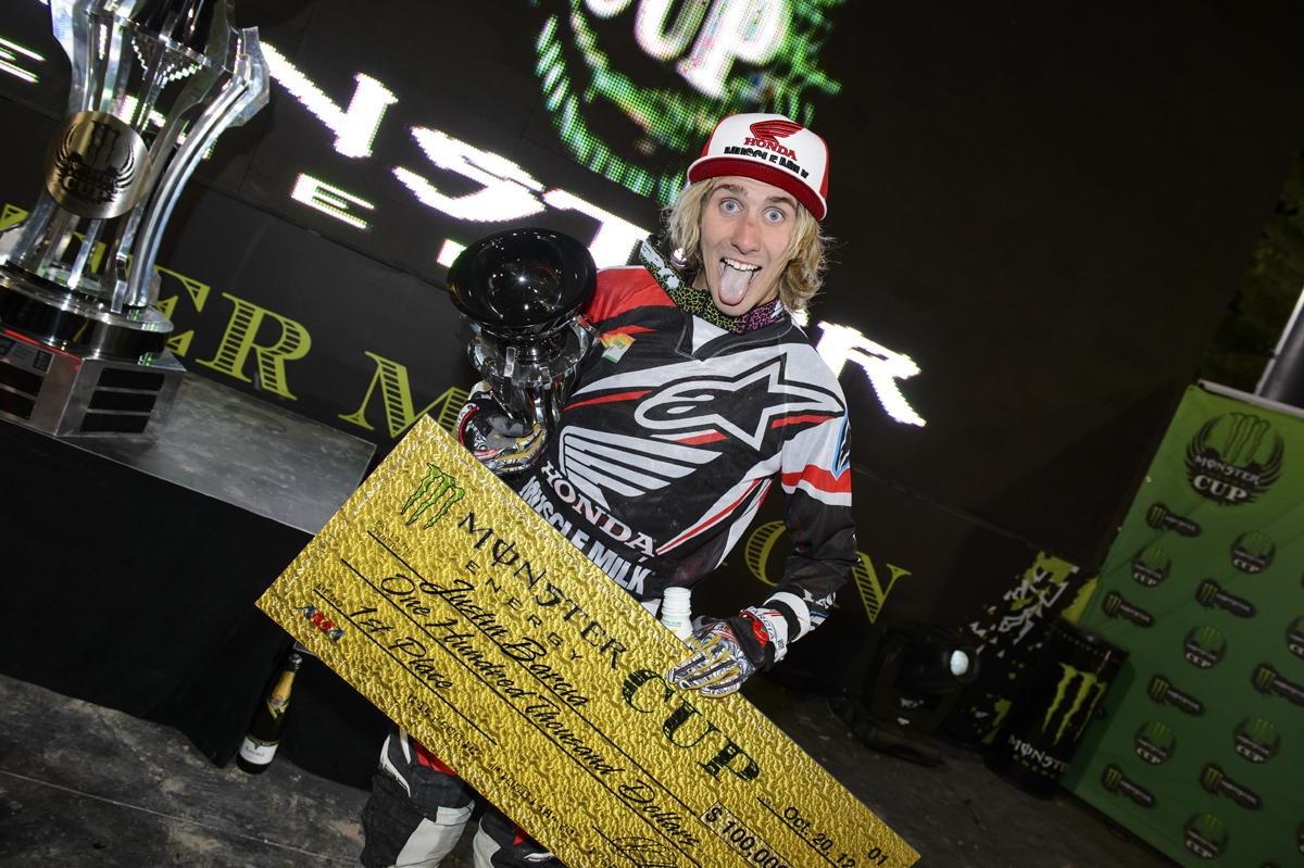 Barcia celebrates his victory. It wasn't the Monster Million, but it wasn't chump change!