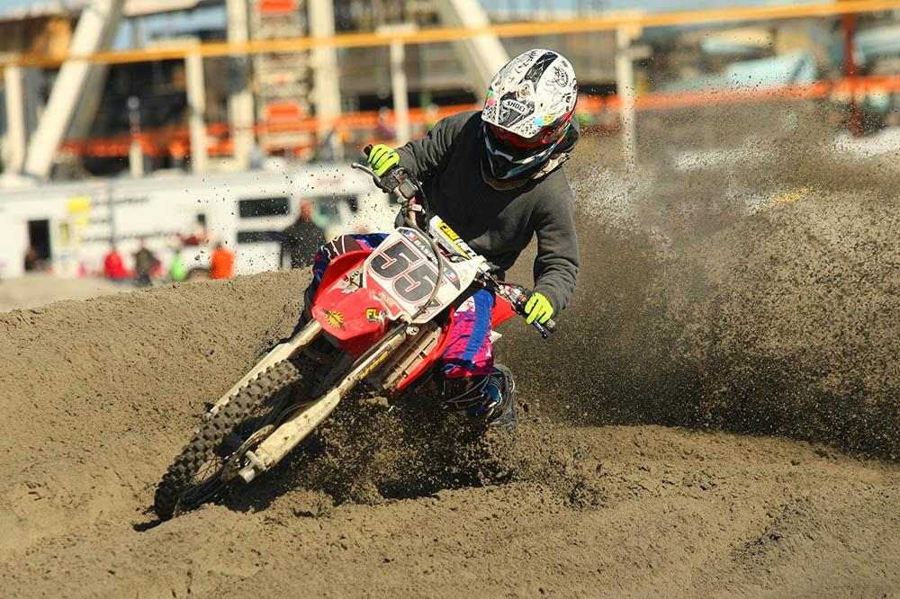 Honda mounted Zach Bassista showed he knows how to ride in the sand by sweeping the Supermini 12-16 class. / Scott Lukaitis photo