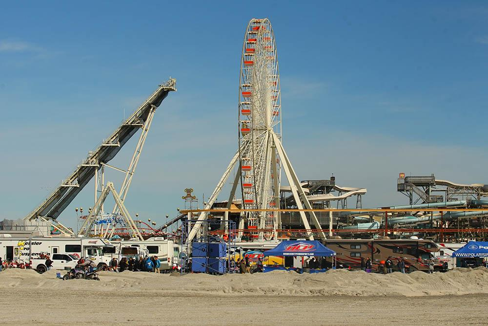 The track for the Brawl on the Beach is unique. It is only used for the weekend then reclaimed by nature as part of the beach. It is located between two piers of amusement rides and just yards from the Atlantic Ocean. / Scott Lukaitis photo