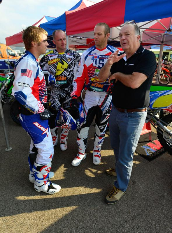 Caselli in a strategy session with fellow ISDE Trophy Team riders Zach Osborne and Mike Brown.