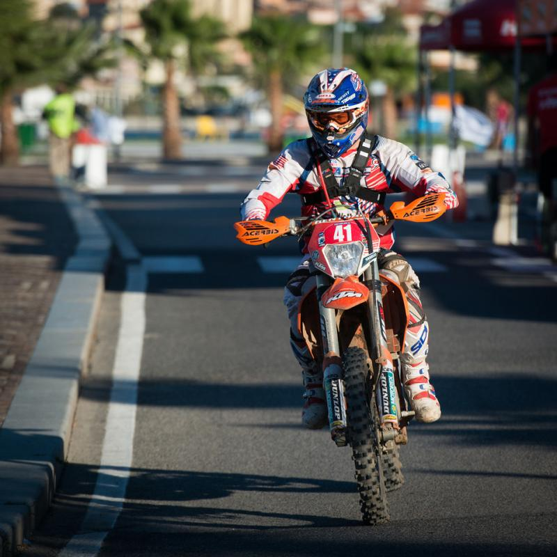 Kurt Caselli rides a road section during this year's Italian ISDE.