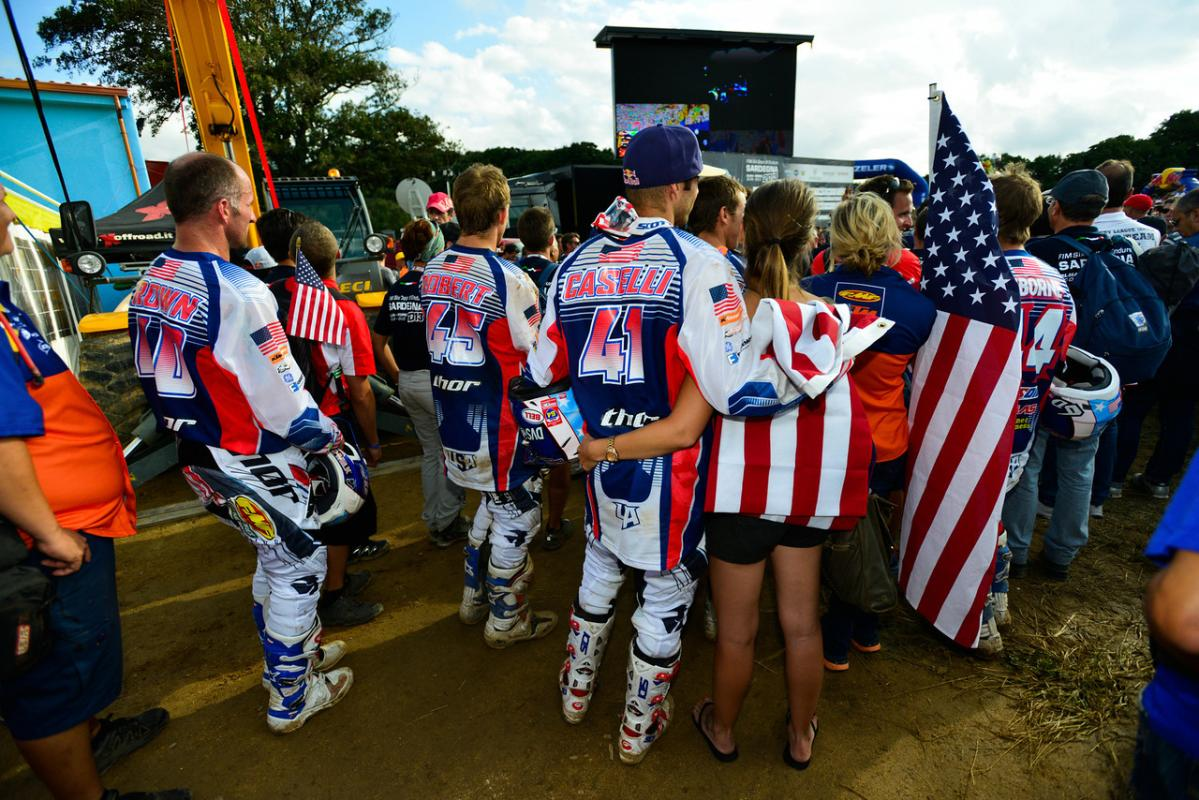 Caselli and his fiancé Sarah White wait for this year's ISDE awards ceremony to begin with the rest of the US Trophy Team where the US finished second to France.