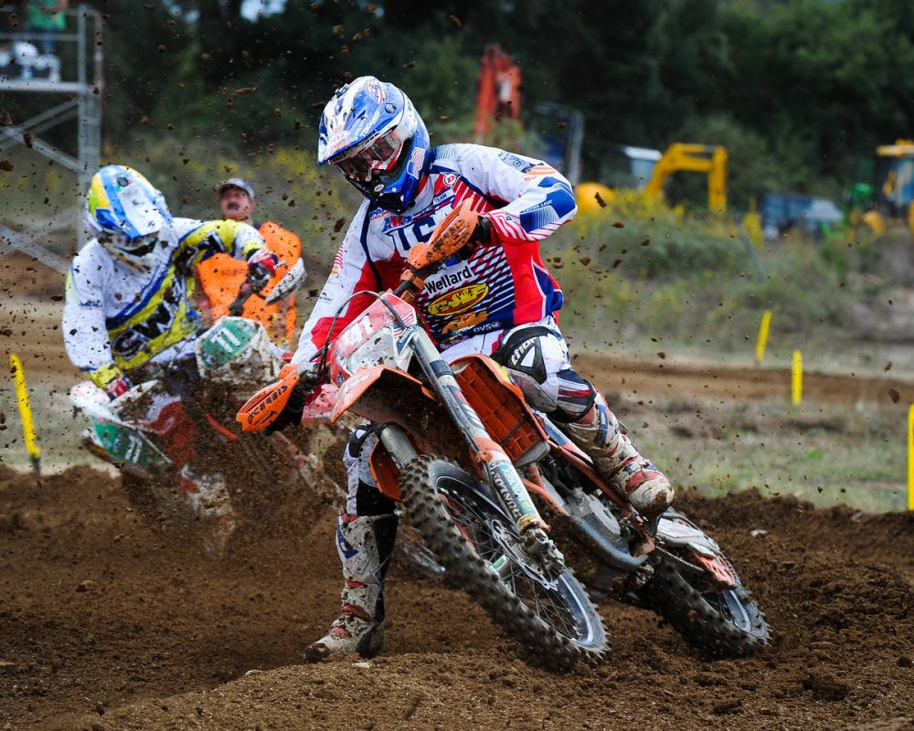 Caselli attacks a motocross section of an ISDE special test.