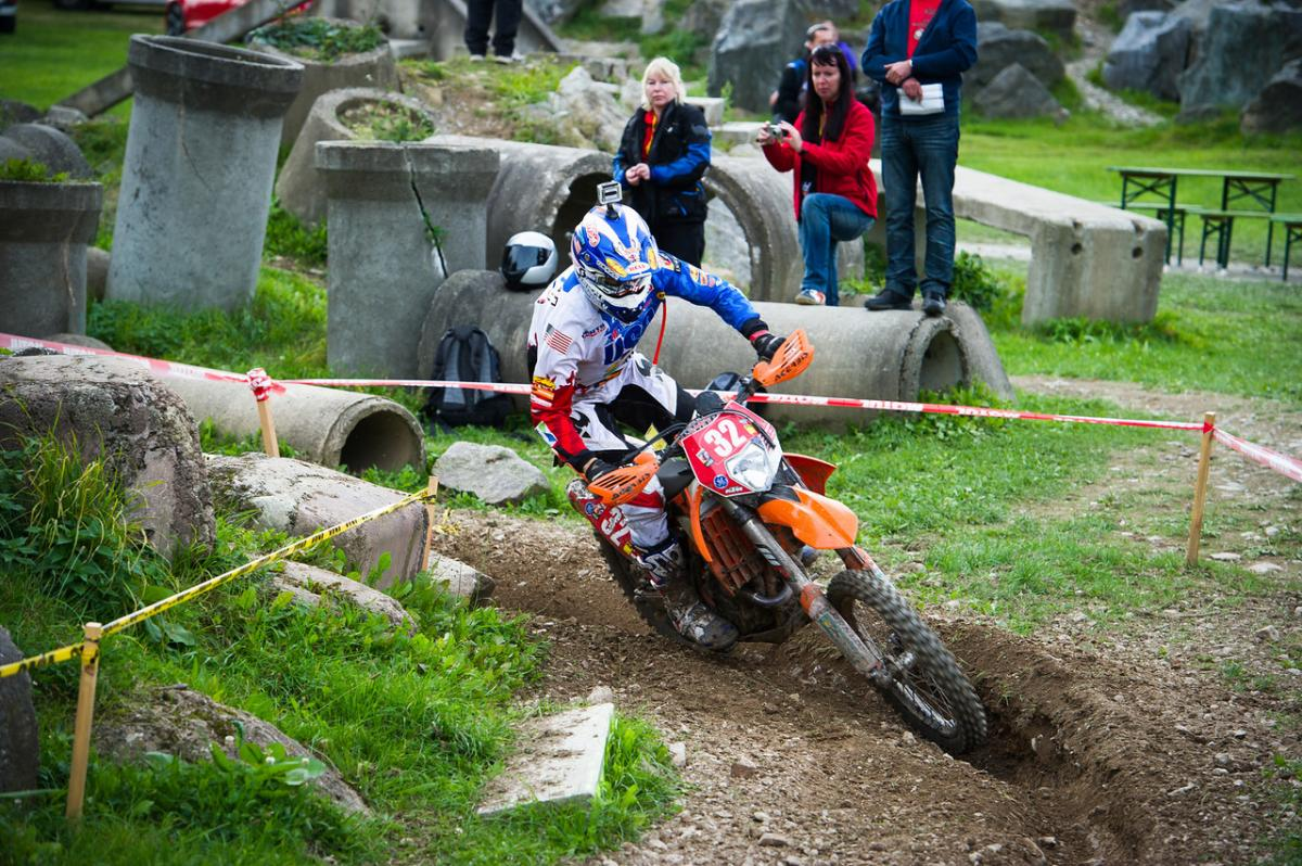 Kurt Caselli navigates a special test during the 2012 ISDE in Germany.