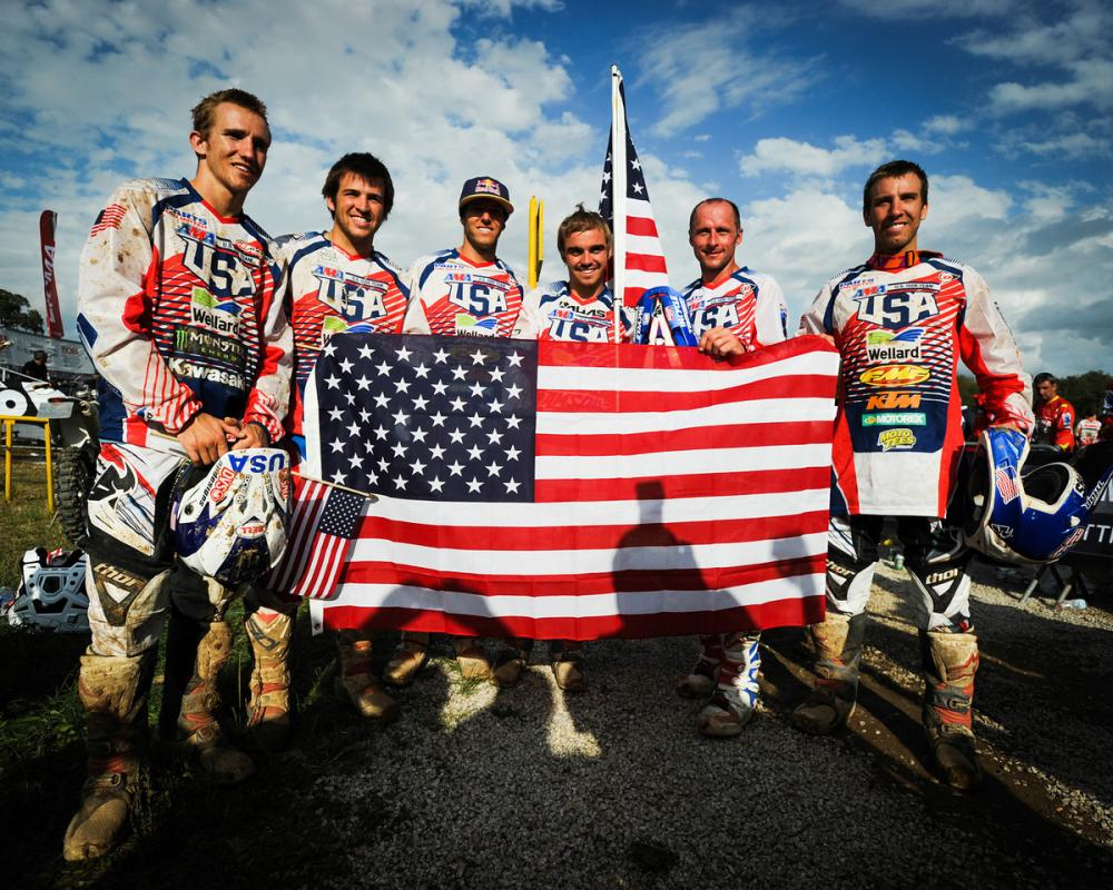 Kurt Caselli celebrates with fellow Team USA members.