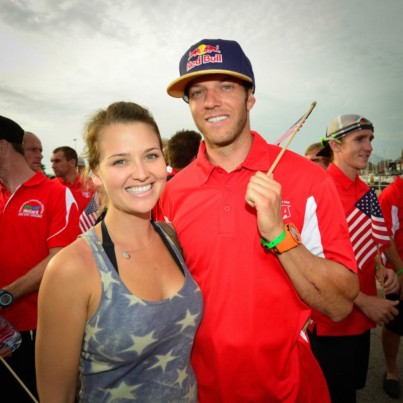 Kurt Caselli and his fiancé Sarah White pose for their picture just prior to the beginning of this year's ISDE opening ceremonies parade held in Olbia, Italy.