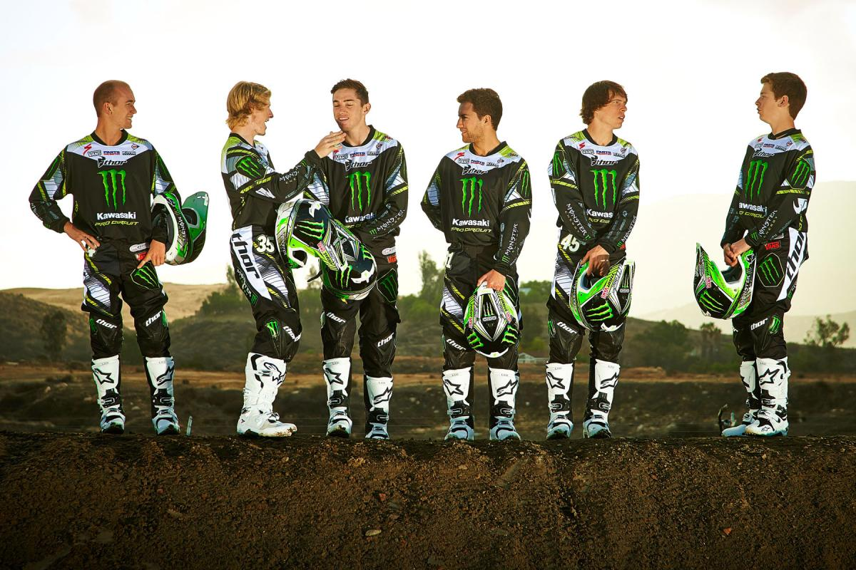 The 2014 Monster Energy/Pro Circuit Kawasaki team