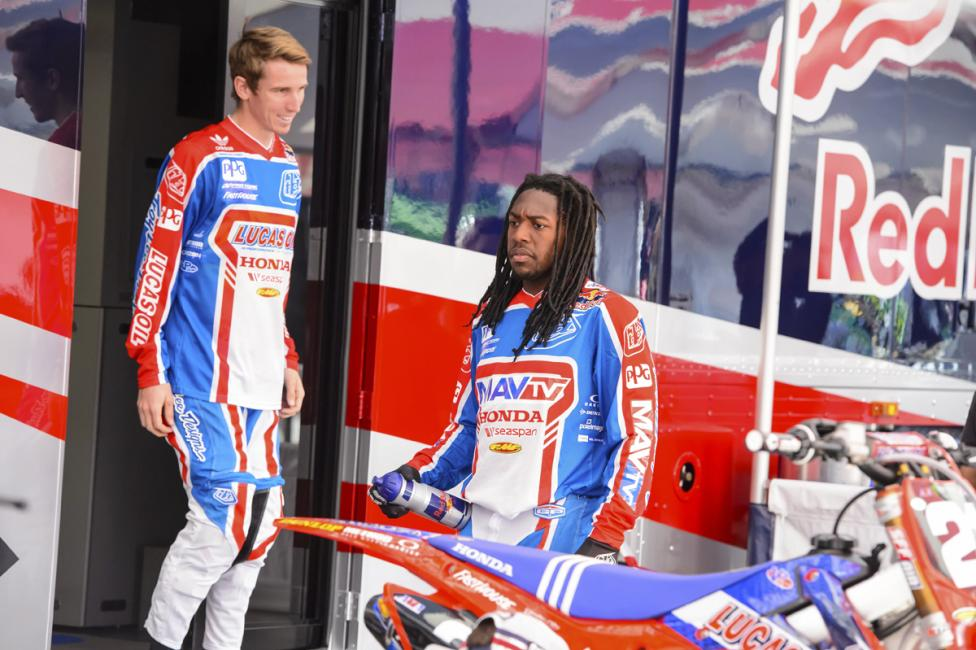 Cole Seely (left) and Malcolm Stewart both reached the podium in Anaheim.  Photo: Simon Cudby