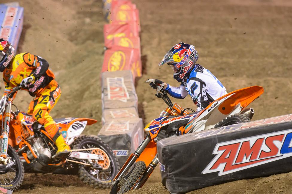 Ryan Dungey crashed while leading, ending his hopes of winning A2. Photo: Simon Cudby
