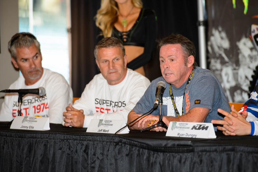 Feld honored the legends of supercross at Anaheim 2.  Photo: Simon Cudby