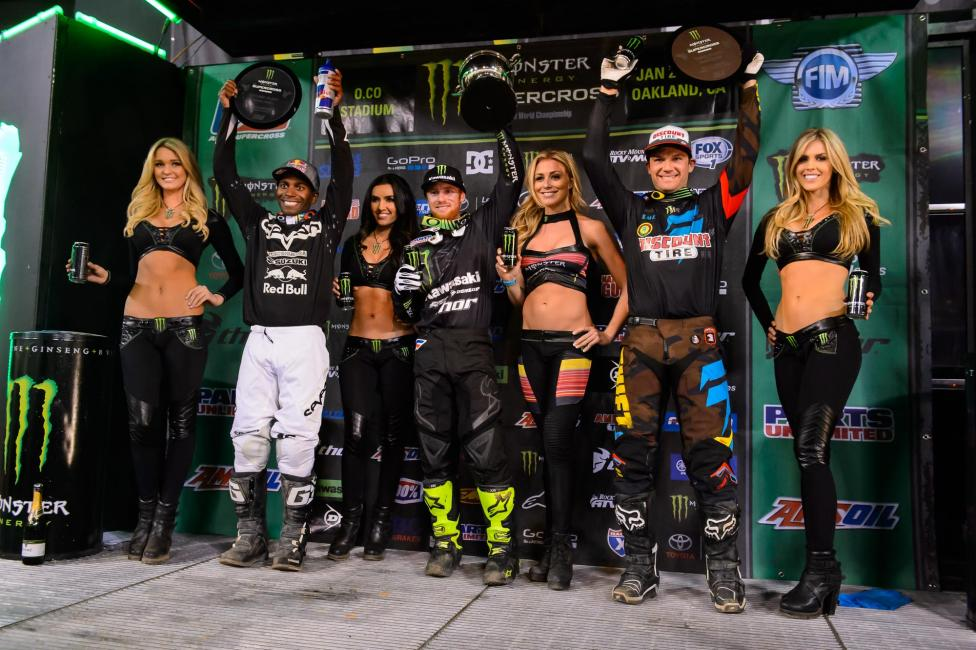 James Stewart (left) and Chad Reed (right) would round out the 450SX podium.Photo: Simon Cudby