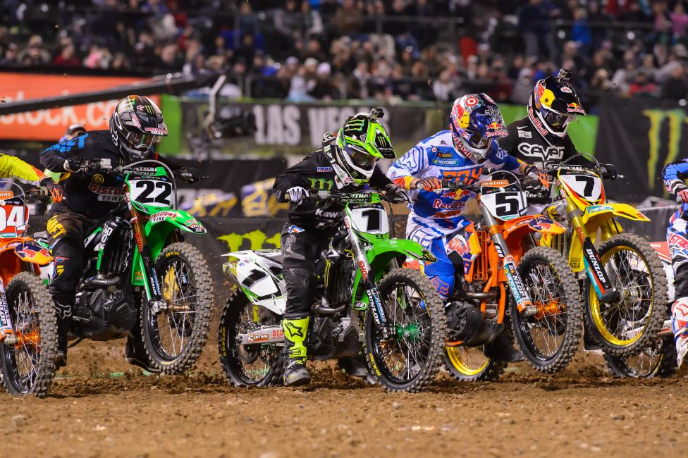 Ryan Villopoto became the first two-time 450SX winner in 2014 at Oakland. Photo: Simon Cudby