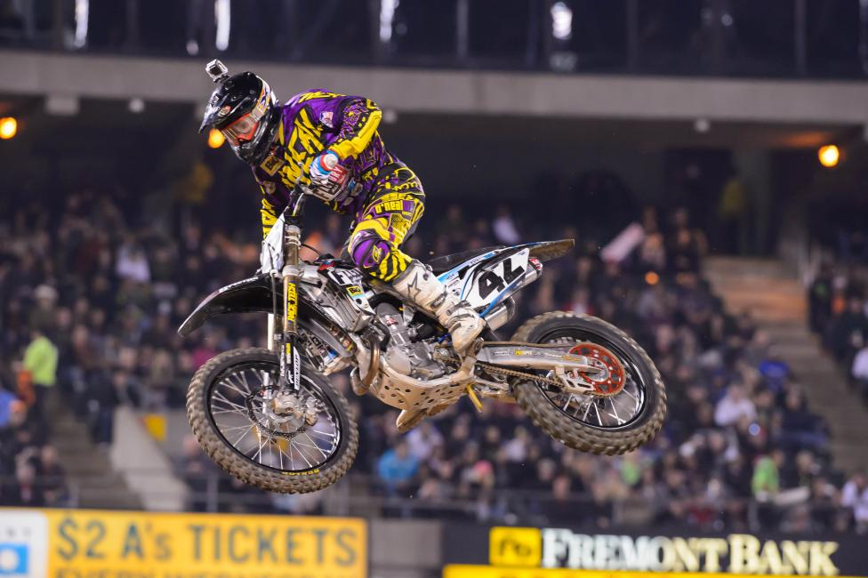 Vince Friese surprised everyone when he grabbed the 450SX holeshot.Photo: Simon Cudby