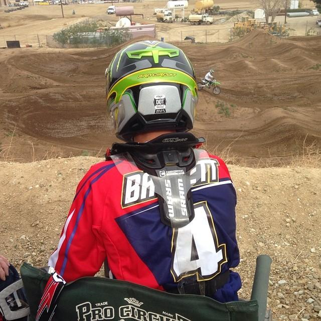 Blake Baggett watches on at the Pro Circuit test track earlier this week. Photo: DC