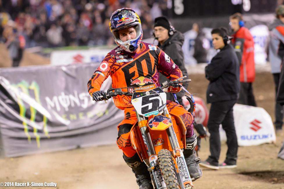 Ryan Dungey's championship hopes took a hit in Anaheim.  Photo: Simon Cudby