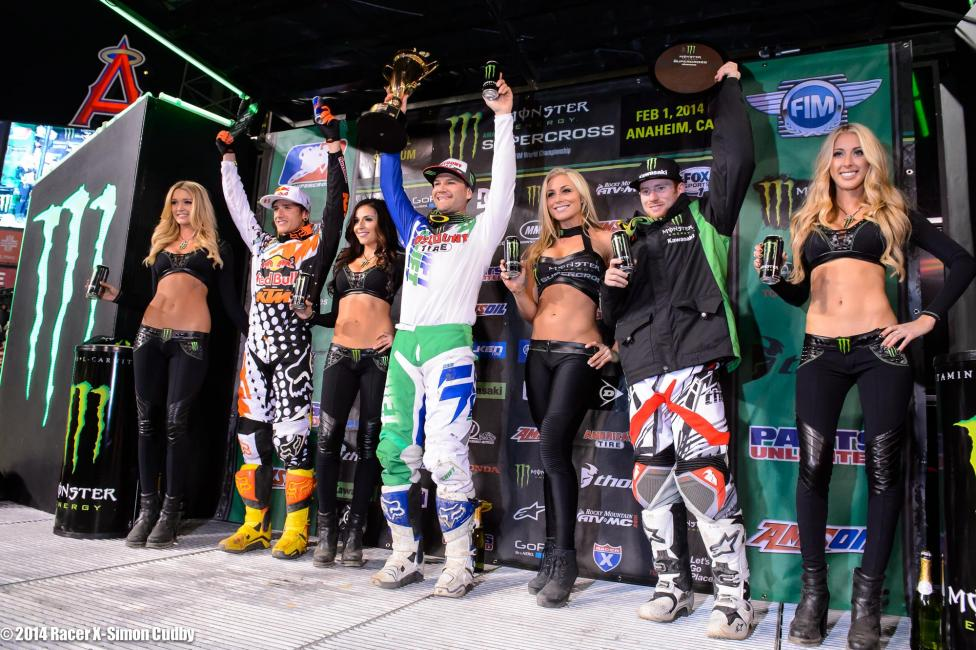 Ken Roczen (left) and Ryan Villopoto (right) would round of the 450 podium in Anaheim.  Photo: Simon Cudby