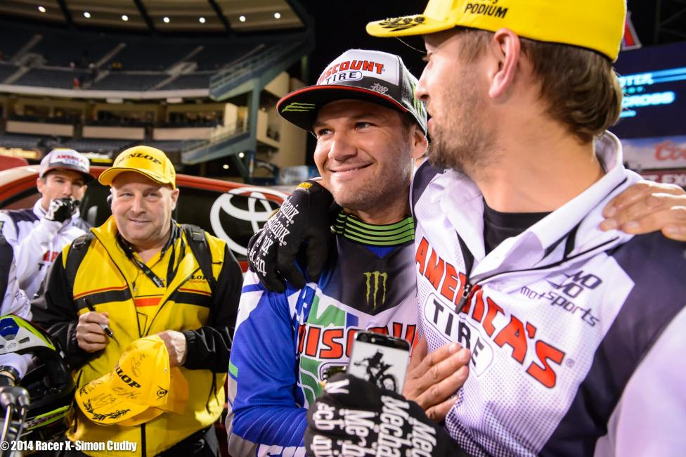 Chad Reed celebrates his second win of 2014.