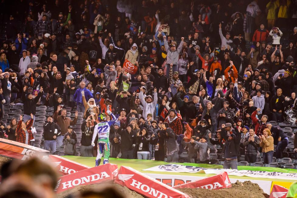 Reed celebrates with the fans in Anaheim. Photo: Simon Cudby