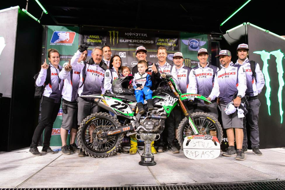 Reed and the Discount Tire TwoTwo Motorsports crew following his first win in 2014. Photo: Simon Cudby