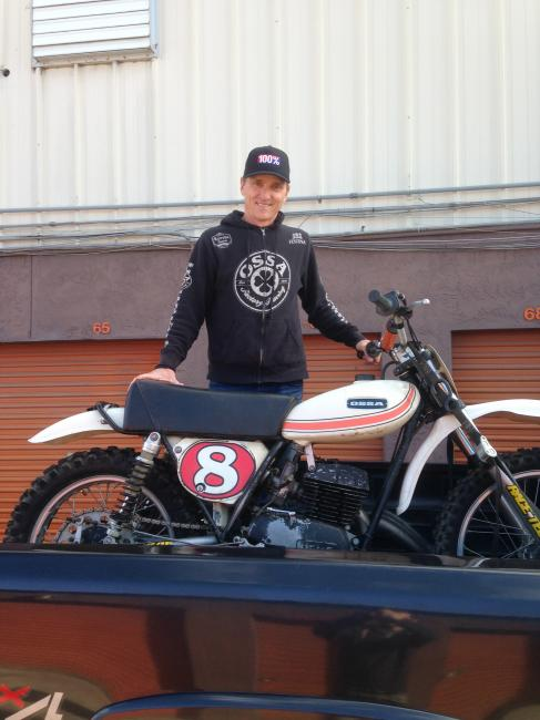 "Scott Burnworth and the Ossa he rode for the 100% ""Barstow"" video. Photo: DC"