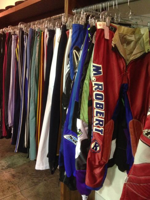 "Only in a Hollywood thrift store will you find M. Robert leathers on the ""slacks"" rack. Photo: DC"