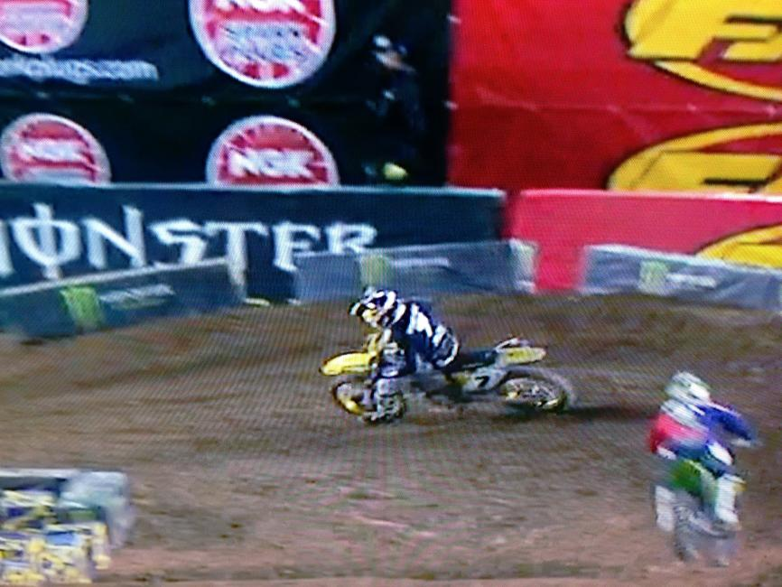 James is turning down much sooner than Ryan Villopoto, thus shortening the track and lowering his lap time.