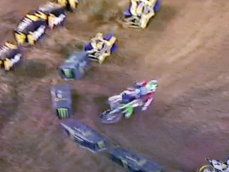 RV was also staying to his far left in the whoops and encountered the same issue as Chad. He is actually facing the wrong direction as he enters the turn, causing a much sharper turn than he would prefer. Sharp turns cause a loss of momentum and slower lap times.