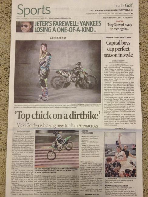 Vicki Golden was on the front page of the Idaho Statesman today.